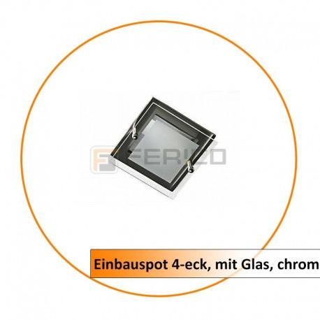 Einbauspot 4-eck, mit Glas, chrom