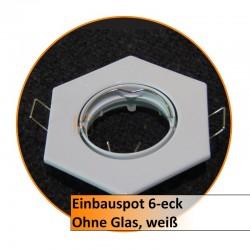 Einbauspot 6-eck, ohne Glas, weiß
