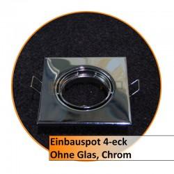 Einbauspot 4-eck, ohne Glas, chrom