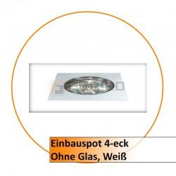 Einbauspot 4-eck, ohne Glas, weiß