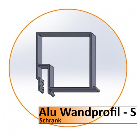 Alu Wandprofil S - Schrank / 2m. Preis pro Lfm.