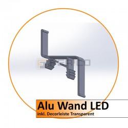 Alu Wand LED Profil incl. Decorleiste (transparent) - Preis / Lfm.