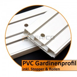 PVC Gardinenleiste – 3 läufig (inkl. Stopper & Rollen)