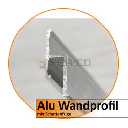 Alu Wandprofil mit Schattenfuge H30 mm x B 9mm-2,0 m - Preis / Lfm.
